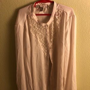 Long sleeve button up chiffon blouse